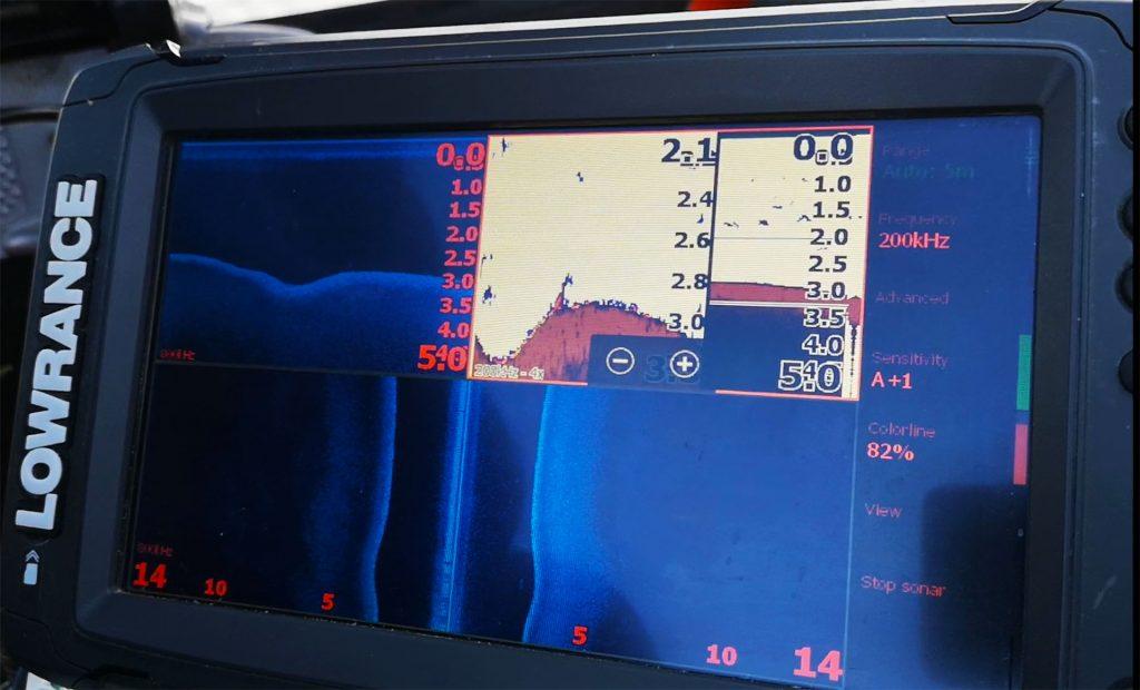 imagine cu localizarea salaului pe sonar