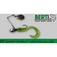 Bertilure Spinnerbait Colorado, Grub+Jig, culoare Nickel