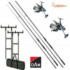 Kit 2 Lansete DAM Hypron Carp 3,60m 12' 3,00Lbs + 2 Mulinete RADICAL RCF 660 + Rod Pod DAM MAD H-Bar + Buzzer Bar