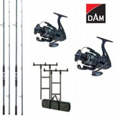 Kit 2 Lansete DAM Camaro Carp 3.60m 3.00lb + 2 Mulinete DAM Quick Fighter Pro Metal 360 FD + Rod Pod DAM MAD H-Bar + Buzzer Bar