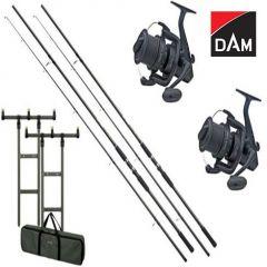 Kit 2 Lansete DAM Hypron Carp 3,60m 3,00Lbs + 2 Mulinete DAM Quick ZCast FD + Rod Pod DAM MAD H-Bar + Buzzer Bar