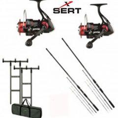 Kit 2 Lansete GARBOLINO Practis Feeder 2,70m*2 10-35gr + 2 Mulinete Sert Axo FD 4003 + Rod Pod DAM MAD H-Bar + Buzzer Bar