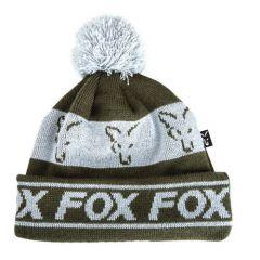 Caciula Fox Bobble Green Silver
