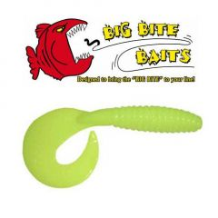 "Grub Big Bite Baits Chartreuse Pearl 3"""