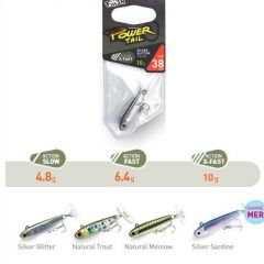 Fiiish Power Tail Slow 3.8cm/4.8g, culoare Silver Glitter