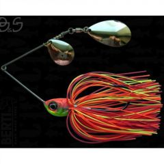 Bertilure Spinnerbait Gigant Big&Strong Colorado-Indiana, 17g,Skirt Siliconic Orange-Rosu-Chartreuse
