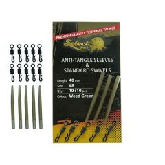 Select Baits Anti Tangle Sleeves & Standard Swivels - Weed Green
