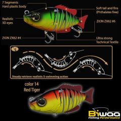 Swimbait Biwaa Seven Section 10cm/17g, culoare Red Tiger