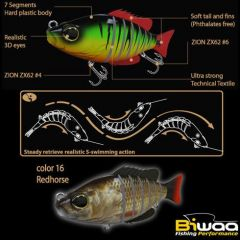 Swimbait Biwaa Seven Section 15cm/60g, culoare Redhorse
