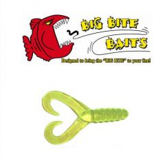 Grub Big Bite Baits Twin Tail  Chartreuse 2""