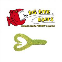 Grub Big Bite Baits Twin Tail  Chartreuse/Silver 2""