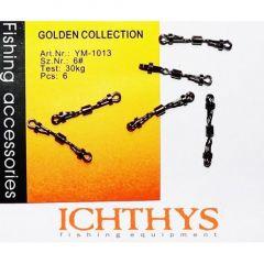 Agrafe + varteje Ichthys cu agrafa dubla si 2 sigurante Nr.6/30kg